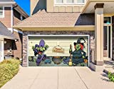 Outdoor Halloween Holiday Garage Door Banner Cover Mural Décoration 8'x16' - Halloween Witch Escape - Outdoor Halloween Holiday Garage Door Banner Décor Sign 8'x16'
