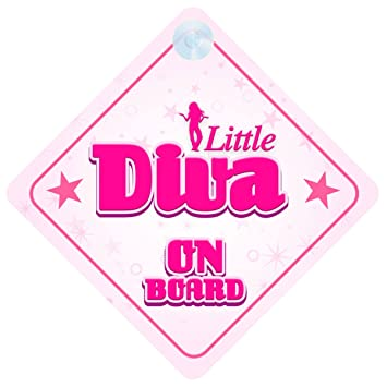 Amazon Little Diva On Board Car Sign New Baby Child Gift