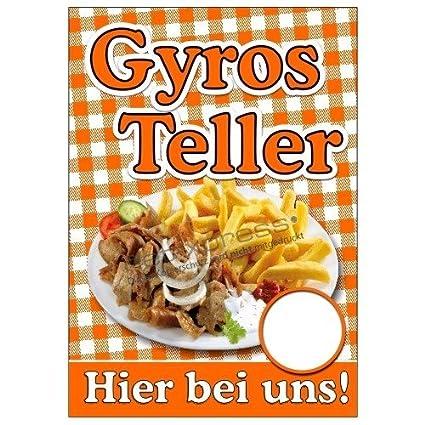 Net-Xpress® Cartel Gyros Plato con Foto Gyros con Patatas ...