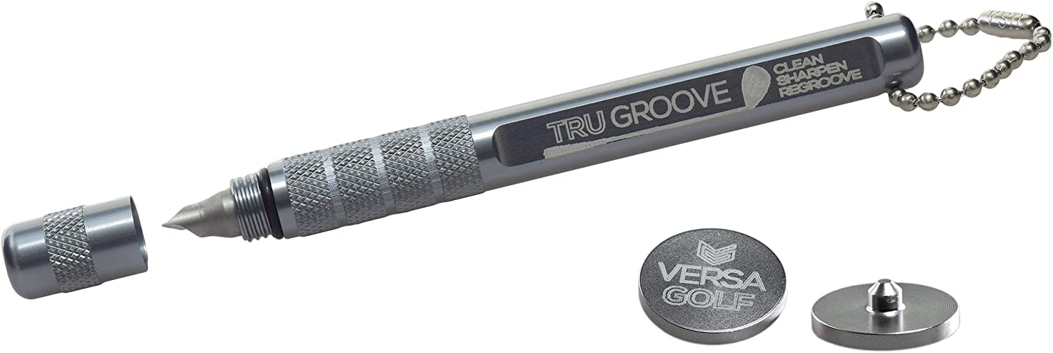 TruGroove Golf Club Groove Sharpener - Improved Backspin and Ball Control - Wedges and Irons - with 2 Free Color Matched Ball Markers - Made in USA