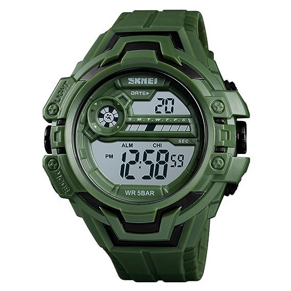 Reloj deportivo para hombre o niño, resistente al agua, 50 m, reloj digital con retroiluminación, alarma de fecha: Amazon.es: Relojes