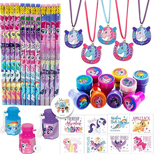 My Little Pony Friendship Adventures Birthday Party Favor Pack For 12 Perfect For Goodie Bag Fillers With 12 My Little Pony Pencils, Stampers, Tattoos, Mini Bubbles, Horse Necklaces, and Exclusive Pin]()