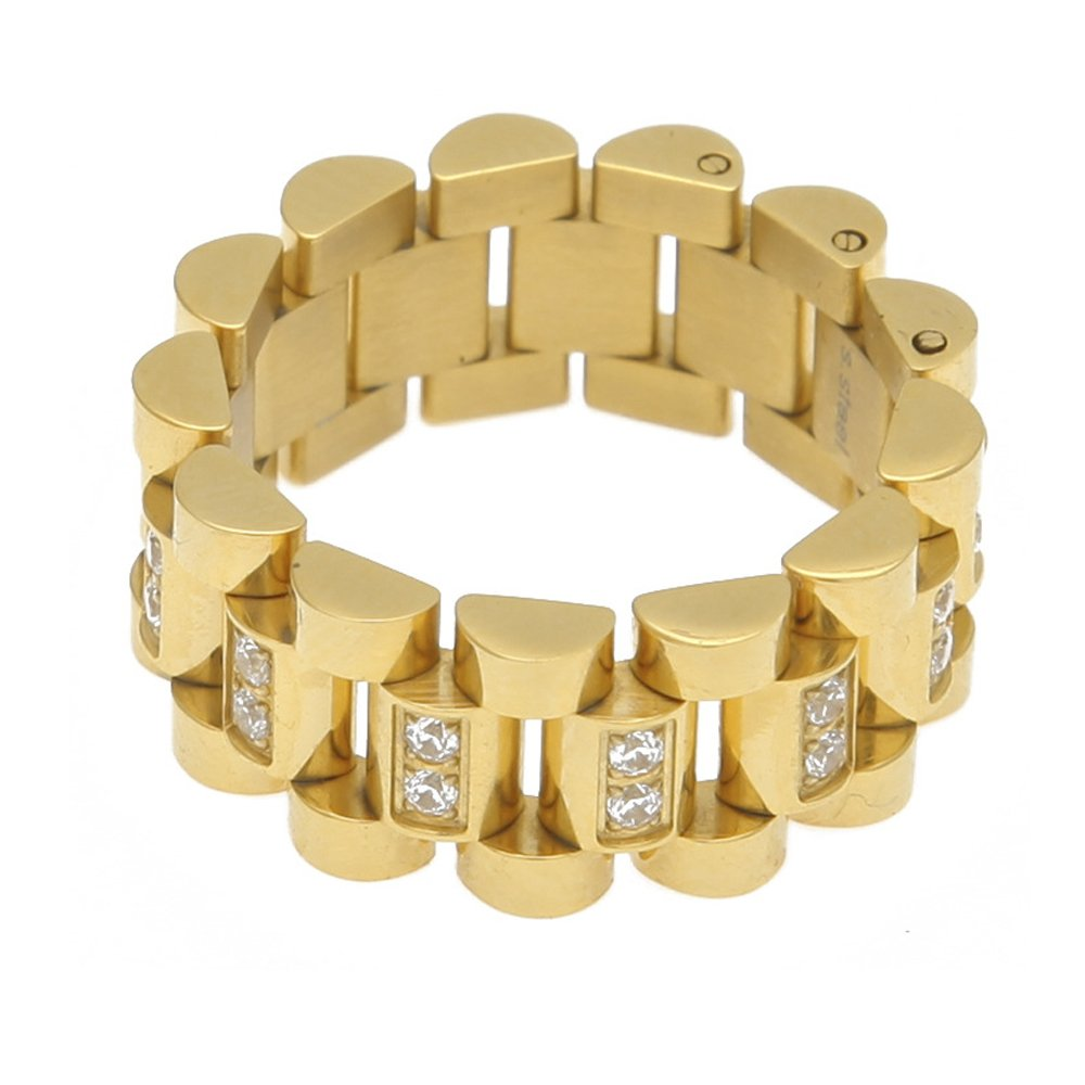 HongBoom Hot Hip Hop Rings 18K Gold Plated CZ CRYSTAL Fully Iced-Out Strap Ring (Gold/CZ/US size 8) by HongBoom (Image #1)