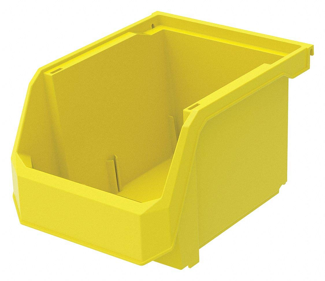 Hang and Stack Bin, Yellow, 11'' Outside Length, 8-1/4'' Outside Width, 7'' Outside Height pack of 5