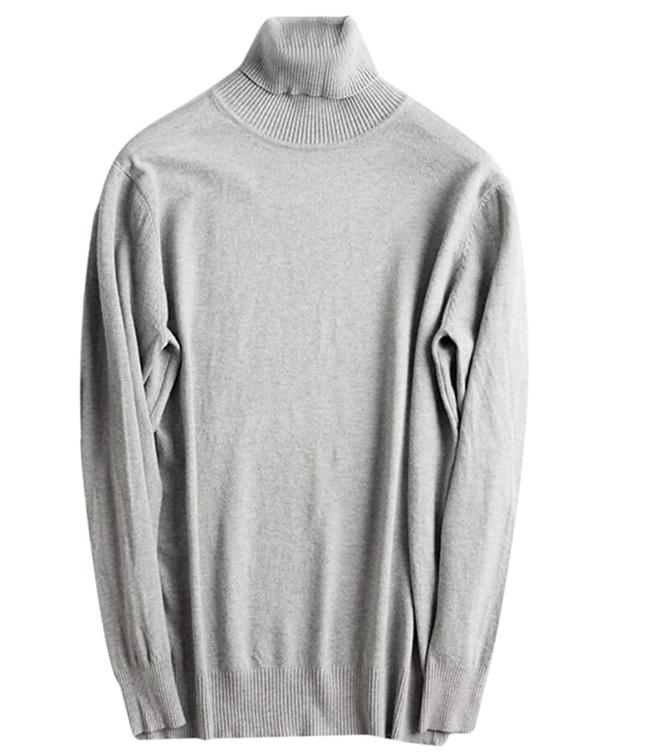 Keaac Mens Turtleneck Pullover Sweater Casual Basic Knitted Slim Sweatershirts