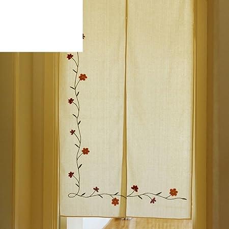 Cortina hecha a mano del lino del algodón/cortina larga bordada/cortina americana del viento del país/cortina de la tela/cortina colgante de la partición-A 85x150cm(33x59inch): Amazon.es: Hogar