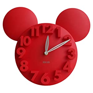 Meidi Clock Modern Design Mickey Mouse Big Digit 3D Wall Clock Home Decor Decoration - Red