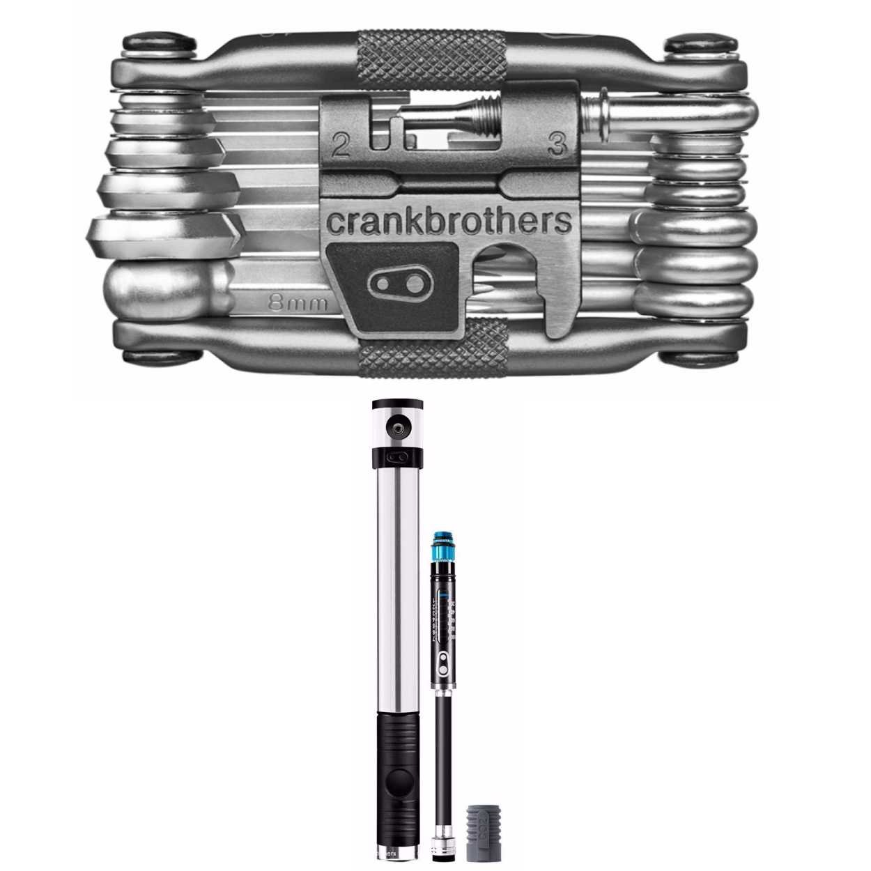 Crank Brothers Klic HP High Volume Bike Tire Pump with Co2 Adaptor and M19 Multi Bicycle Tool Kit