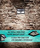 UMR 44 LED Solar Security Light - New 2018 Motion Sensor Outdoor Lighting w 5 LEDs Per Side, Dusk to Dawn Detector, Wireless Battery Power is Ultra-Bright for Garage Wall Garden Porch Door Step 2-pack