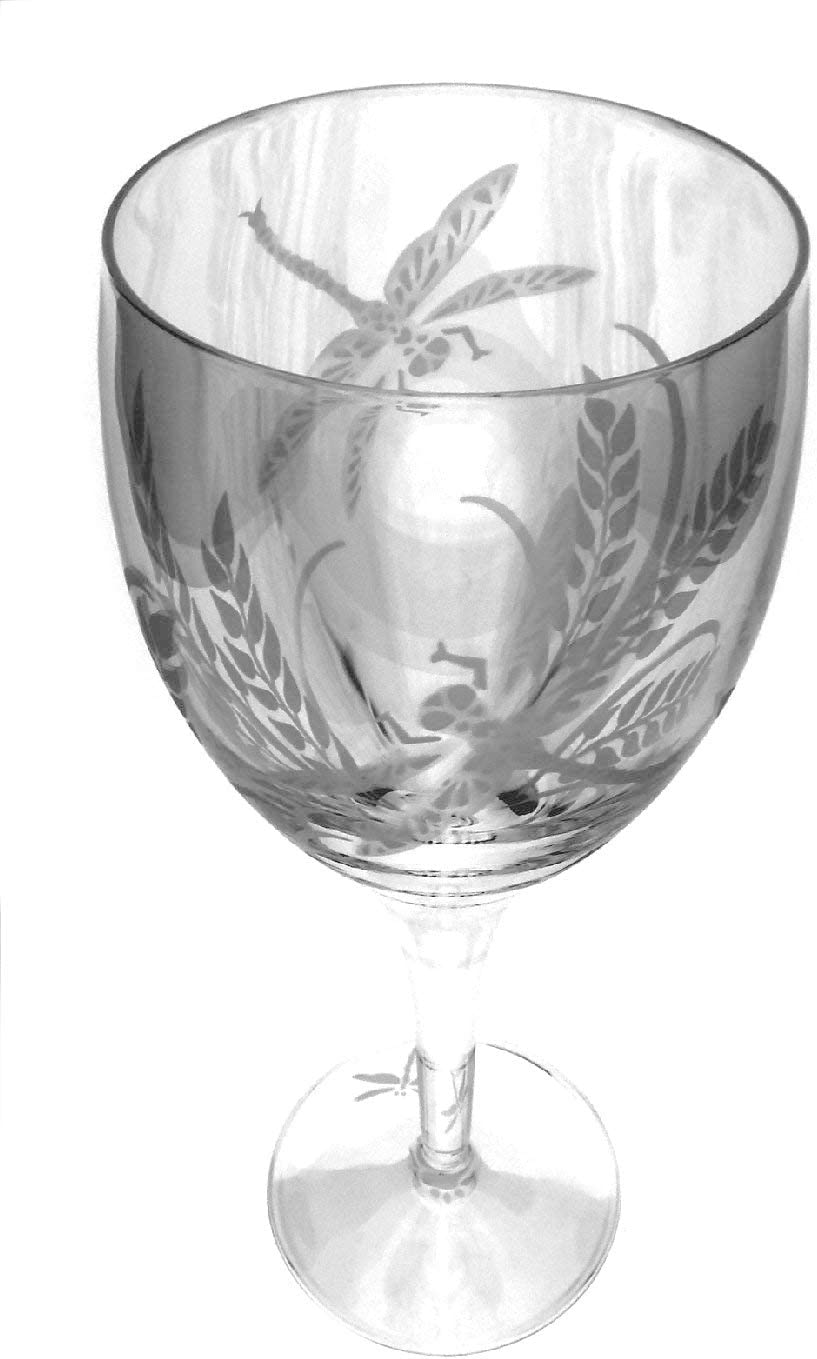 IncisoArt Hand Etched Italian Crystal Goblet Sandblasted Sand Carved Handmade Wine Water Glass Engraved Dragonfly Grass, 340 Milliliter 11.5 Ounce White Wine