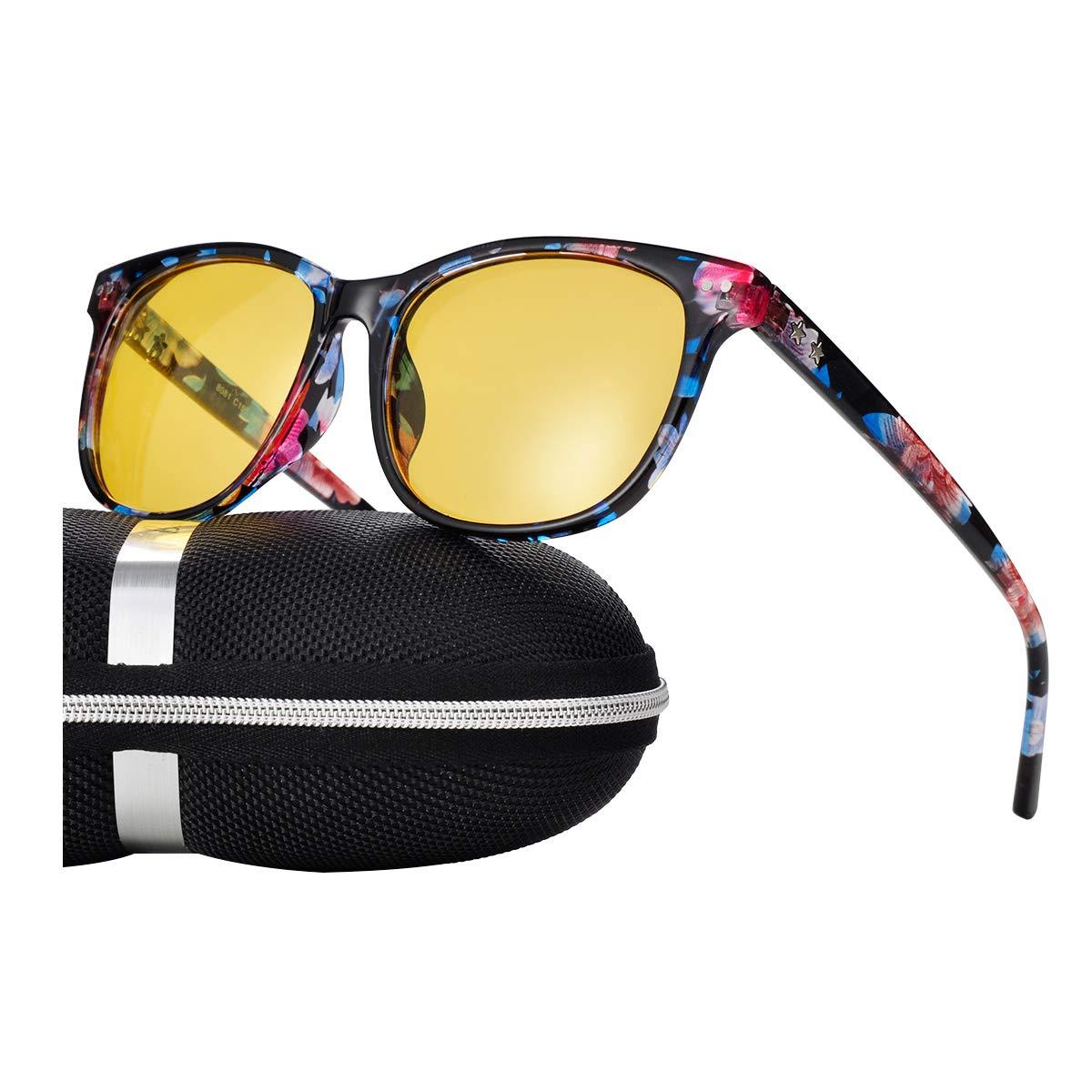 Night Vision Driving Glasses Polarized Anti-glare Clear Sun Glasses Men & Women Fashion(Floral)