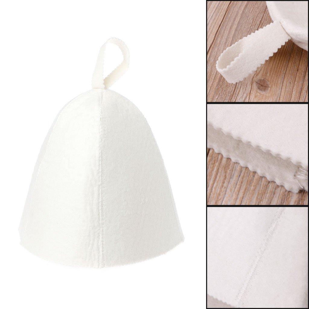 Wuweiwei12 Bonnet de sauna en feutre de laine blanche pour bain ou vapeur