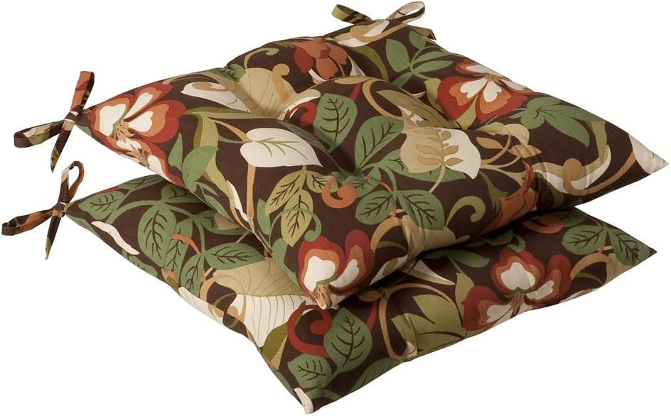 Pillow Perfect Indoor Outdoor Brown Green Tropical Tufted Seat Cushion, 2-Pack