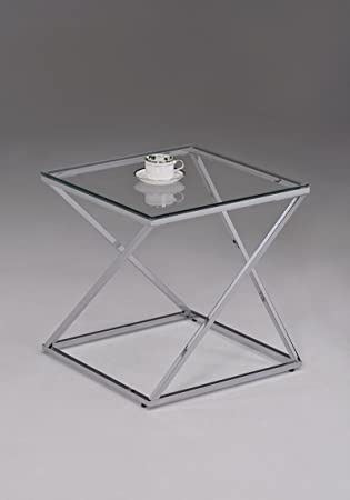 Amazoncom Contemporary Chrome Metal Glass Square Side End Table