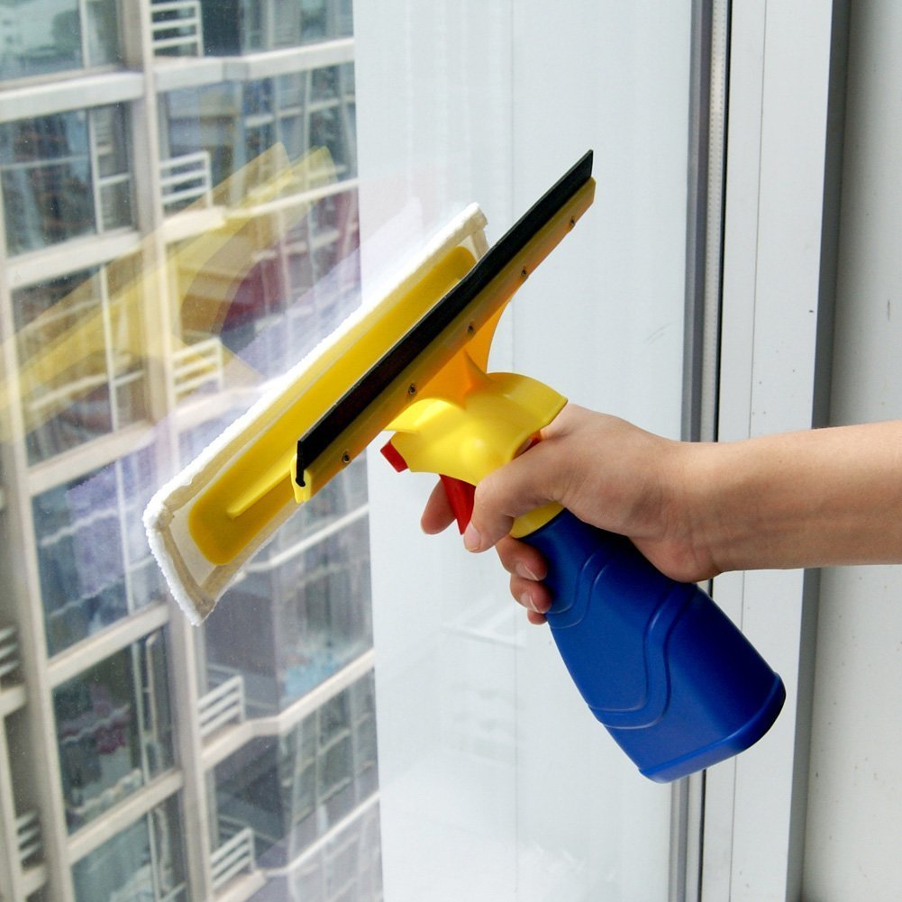 Glass Cleaners, EVERTOP 2 in 1 Handheld Glass Cleaners Shower Squeegee Window Cleaning Kit with Spray Bottle 0.3L (Type D)