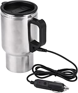 Fdit 12V Heated Travel Mug Stainless Steel Electric in-car Travel Heating Cup Coffee Tea Car Cup Mug with Anti-Spill Lid (450ml/15oz)
