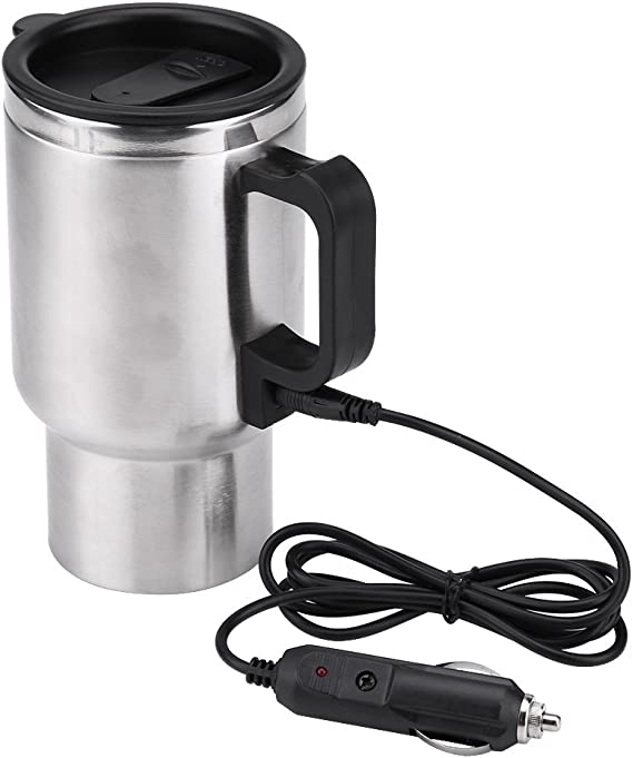 Amazon Com Fdit 12v Heated Travel Mug Stainless Steel Electric In Car Travel Heating Cup Coffee Tea Car Cup Mug With Anti Spill Lid 450ml 15oz Kitchen Dining