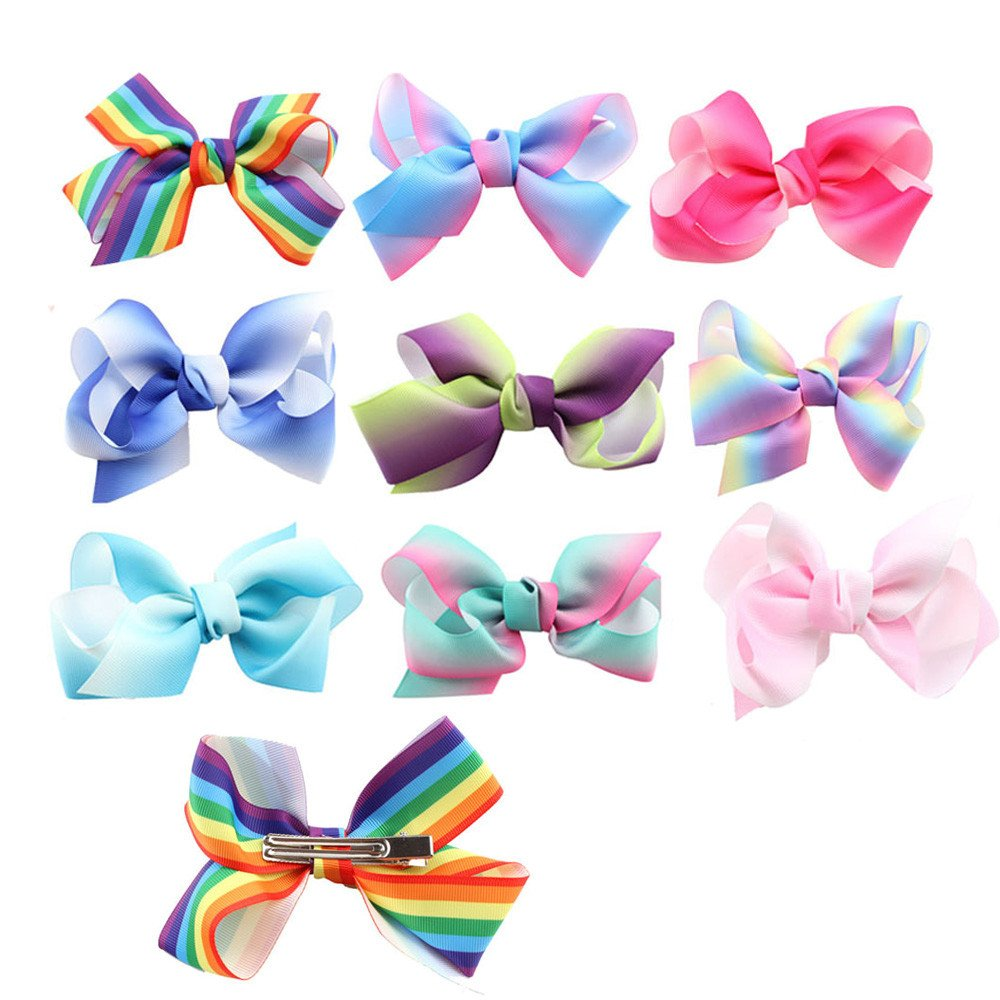 TraderPlus 4.5' Grosgrain Ribbon Hair Bowknot Boutique Rainbow Colorful Hair Bows Clips Accessories for Baby Toddlers Teens Girls Gifts Set of 10