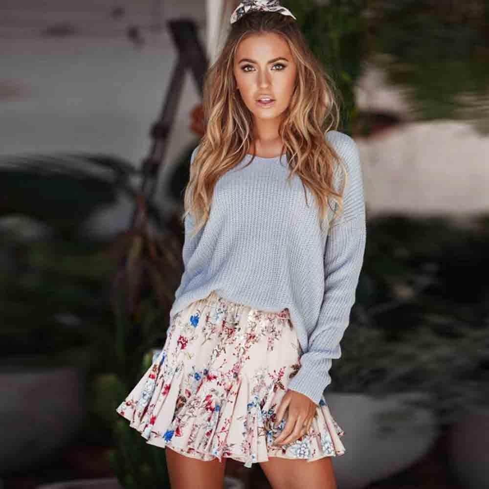 Blustercool Womens Flower Print Party Cocktail Mini Skirt Ladies Summer Skater Skirt