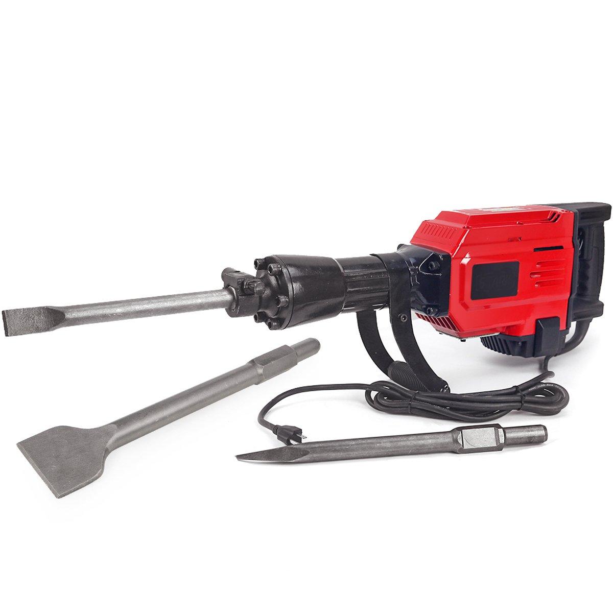 XtremepowerUS Heavy Duty Electric Demolition Jack hammer, Concrete Breaker (2200Watt w/ Scraping Chisel)