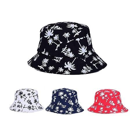 Elecenty Estivo Unisex Coconut Tree Stampe Cotone Hat Cappello da Pescatore  Berretti Visiera di Sole Spiaggia 9d0ee7ad83aa