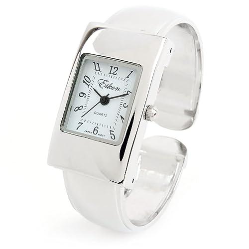 FTW Reloj de pulsera para mujer, color plateado, rectangular, fácil de leer,