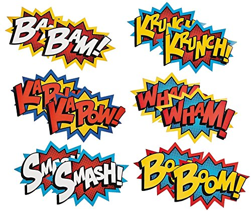 Superhero Word Cutouts by Fun Express - Birthday Party Favors - Party Decor - Wall Decor - Bulletin Board - 6 Pieces
