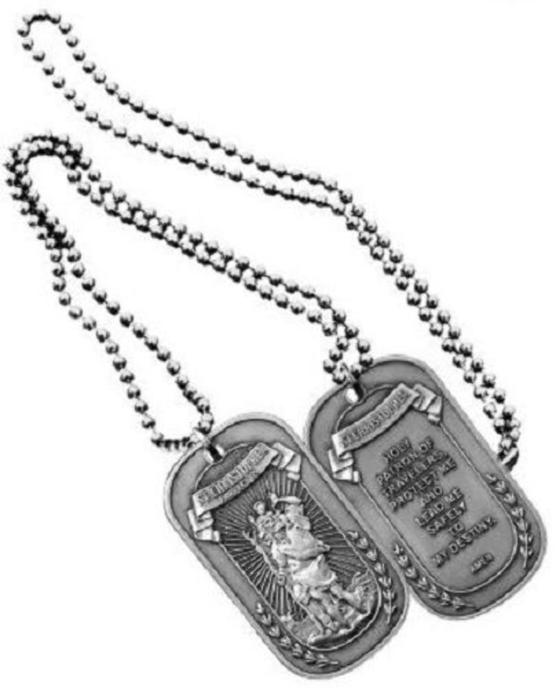 Dog Tags  Silver St. Christopher OSFM by Eagle Crest ,2 x 1.25