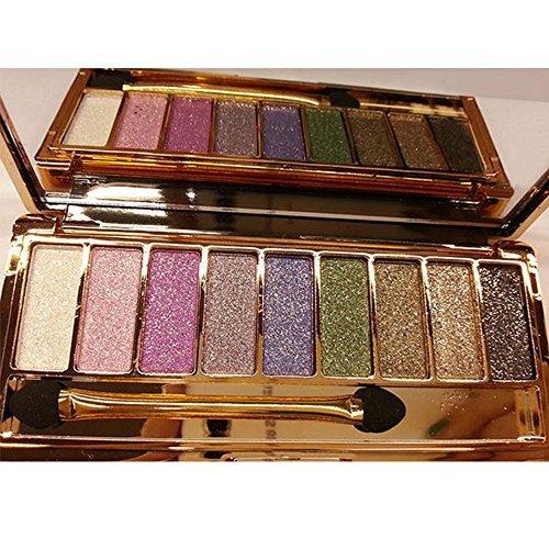 Asatr Best Brick Eyeshadow Palette Makeup 9 Colors Highly Pigmented Waterproof Shimmer Eyeshadow with Brush