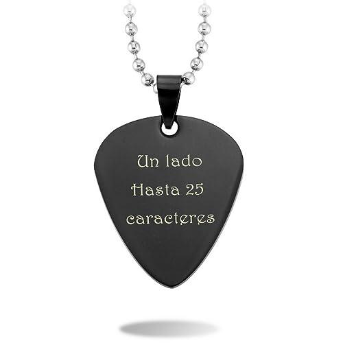 MeMeDIY Negro Acero Inoxidable Colgante Collar Púa de Guitarra Corazón Heart - Grabado personalizado: Amazon.es: Joyería