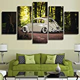 Wall Art Modular Canvas Living Room Home Decor Poster Frame 5 Pieces Volkswagen Beetle Car Painting HD Prints Forest Pictures,20x35 20x45 20x55cm,Frame