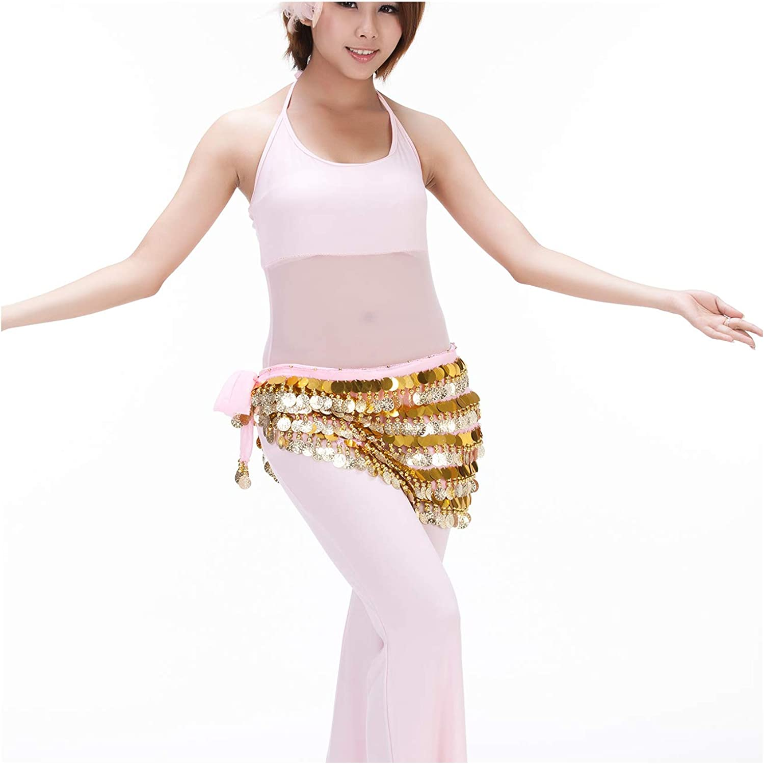 Women Belly Dancing Hip Scarf with 288 Gold Ringing Coins 5 Rows Sequins Performance Skirt Wrap 59 Inch