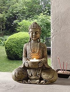 Amazon.de: Betender Buddha-figur Sitzend 40 Cm Groß Mit Windlicht ... Buddha Deko Wohnzimmer
