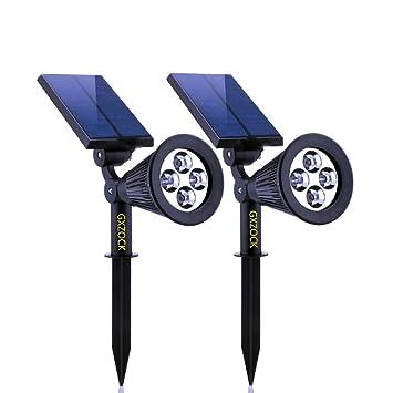 Gxzock Solarbetriebene LED Garten Strahler, 2 In 1 ProGREEN Wasserdicht 4  LED