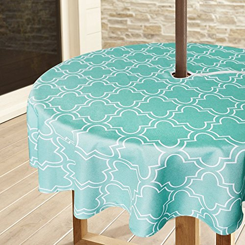 Lamberia Patio Outdoor Umbrella Tablecloth with Zipper and Umbrella Hole, Water and Stain Resistant (60