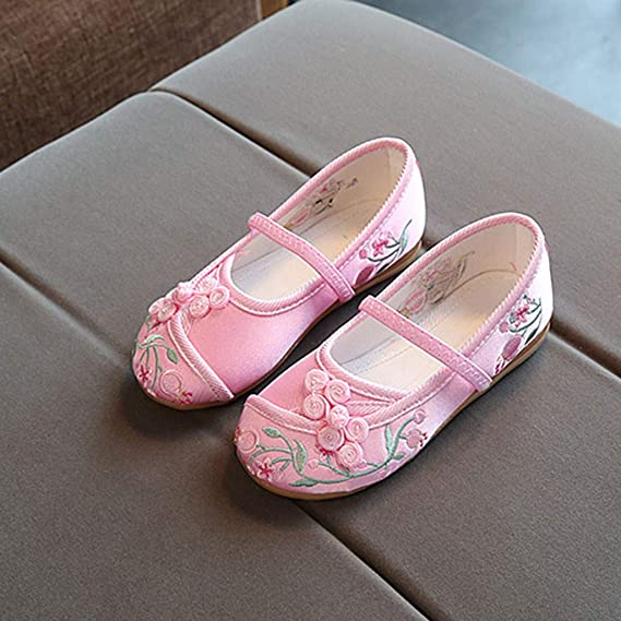Voberry Kids Baby casual Shoes Girls Embroidery Flower Ethnic Style Single Cloth Sandals