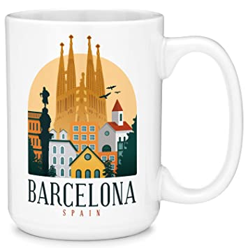 Barcelona Spain Scene Coffee Mug Cup Fun Novelty Gifts for Women and Men with Gift Box (11oz): Amazon.es: Hogar