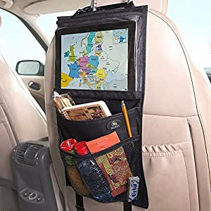 Fully Improved New Unique Design! | Car Storage & Backseat Organizer by Decanus - iPad Holder | Eco Material | Must Have Baby Travel Accessories And Kids Toy Storage - Lifetime Warranty and 100% Money Back Guarantee!