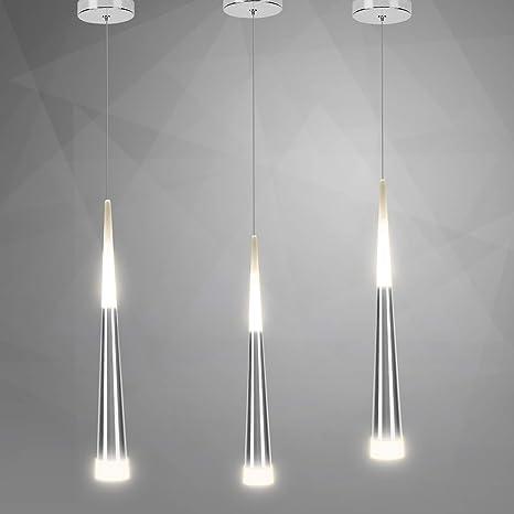 3*Lámpara colgante moderna 7W LED Lámpara de techo con estilo cono, perfecta para sala de estar, restaurante, dormitorio, cafetería, etc. [Clase de ...