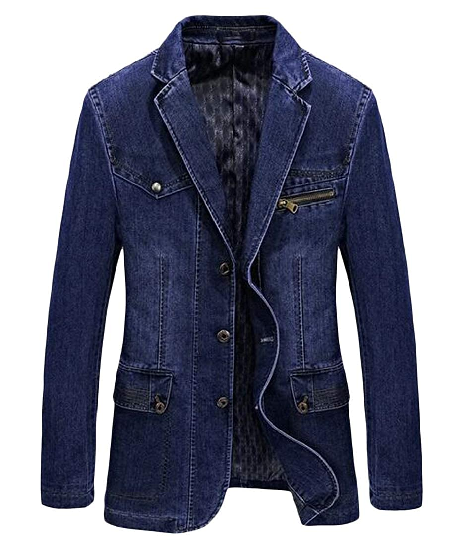 Light bluee Cromoncent-CA Men's Casual Denim Single Breasted Notched Lapel Blazer Suit Jacket