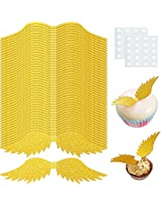 48 Pieces Wizard Party Chocolate Decoration Wing Wafer Cupcake Toppers Glitter Wing Cake Toppers Set for Wizard Theme Party Anniversary, Birthday Party, Wedding