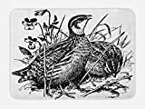 Lunarable Quail Bath Mat, Common Birds Sketchy Wildlife Meadow Flowers Grass Ecology Fauna Drawing Design, Plush Bathroom Decor Mat with Non Slip Backing, 29.5 W X 17.5 W Inches, Black and White