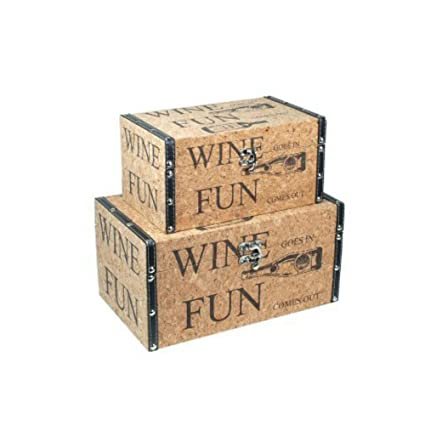 CAPRILO Set de 2 Baúles Decorativos Retro Wine. Muebles Auxiliares. Cajas Multiusos. Regalos