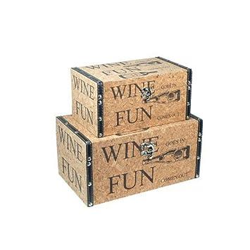 CAPRILO Set de 2 Baúles Decorativos Retro Wine. Muebles Auxiliares. Cajas Multiusos. Regalos Originales. 15 x 30 x 18 cm.: Amazon.es: Hogar