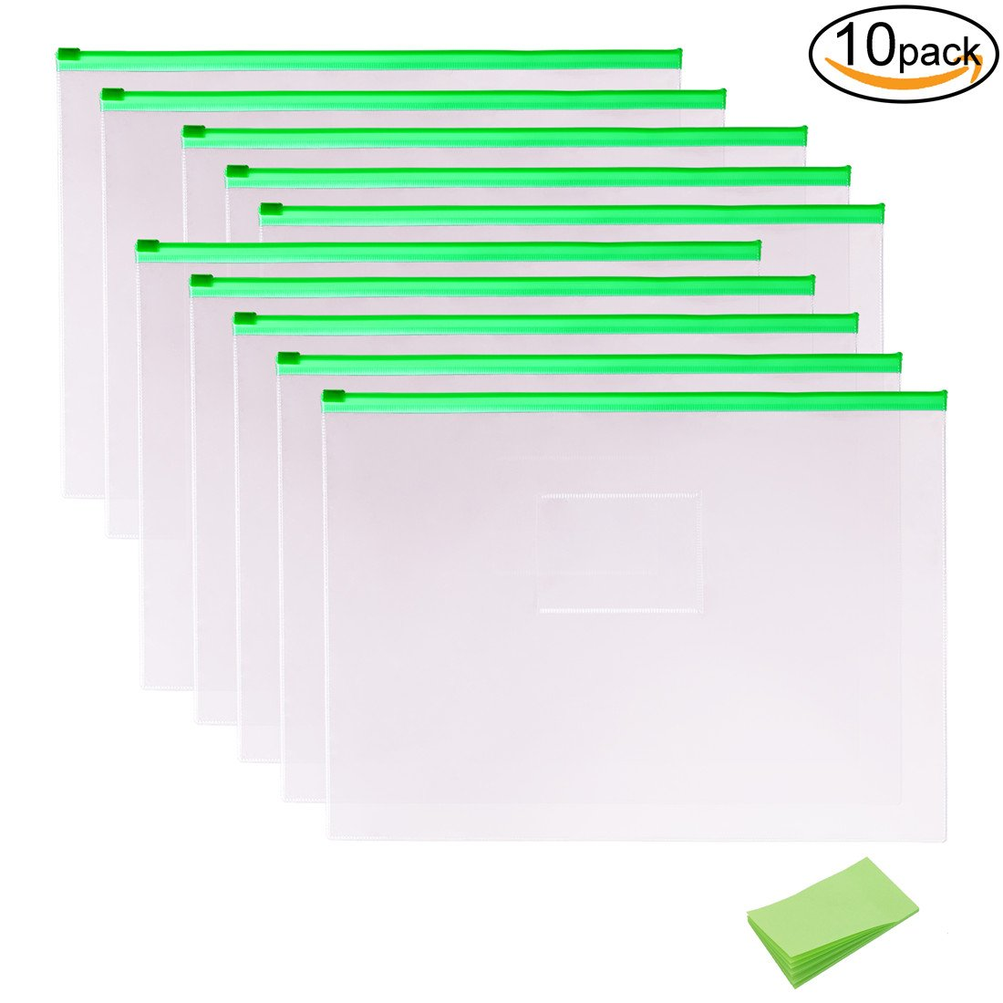 10 Pack Plastic Clear Poly Envelope Folders with Self-Stick Notes, A4 Size, Green Zipper by V-story