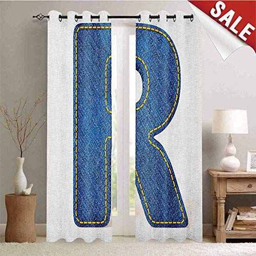 Hengshu Letter R Customized Curtains Retro Denim Style Alphabet Font Pattern with Capital R Letter Blue Jean Design Blackout Window Curtain W84 x L108 Inch Blue Yellow (Blue Jean Teddy Curtain)