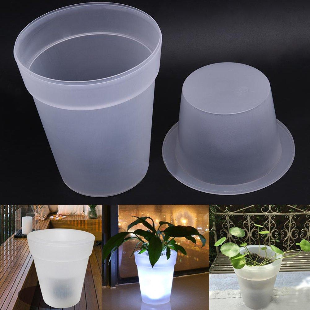 Ragdoll50 Solar Flowerpot Light, White LED Solar Power Light Flowerpot Garden Landscape Outdoor Yard Lamp Decorative Pot Plant Lamp