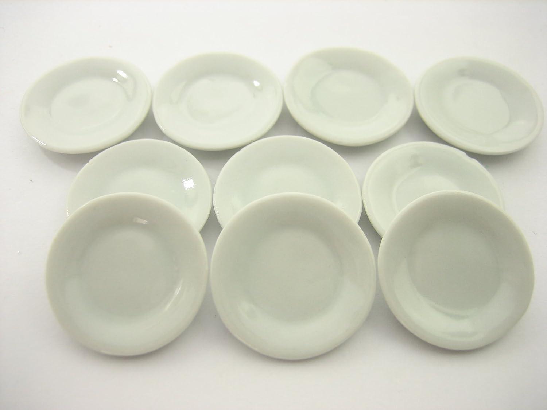 White Square Plates  Dollhouse Miniatures Ceramic Supply Deco 10x25 mm