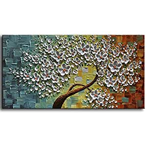 """baccow Modern Canvas Paintings Texture Palette Knife Flowers Trees Paintings Home Decor Wall Art 3D Handmade Wall Decoration Abstract Painting Framed Ready to Hang (2448"""")"""