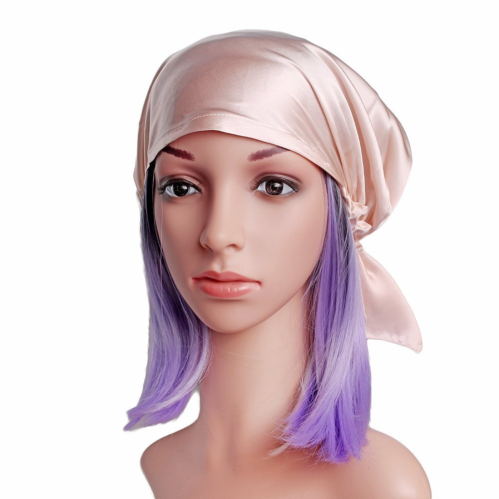 Savena 100% Mulberry Silk Night Sleeping Cap for Long Hair Bonnet Hat Smooth Soft Many Colors, Hair Care Ebook Included (Pink)